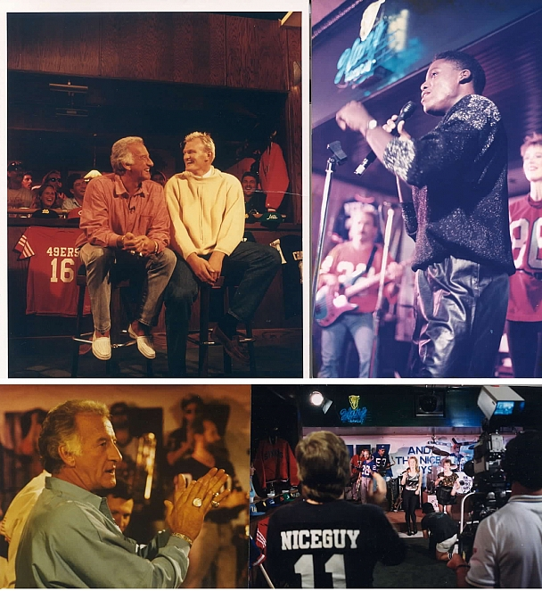 Bob Uecker - NBC's Bob Uecker Sports Show features Nik as the house band. All shows taped near La Jolla, CA. Top left: Bob with Australia's